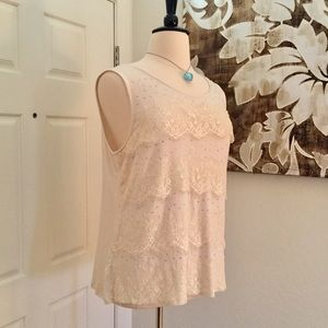 Style & Co Plus Size Lace Ruffle Tier Tank Top